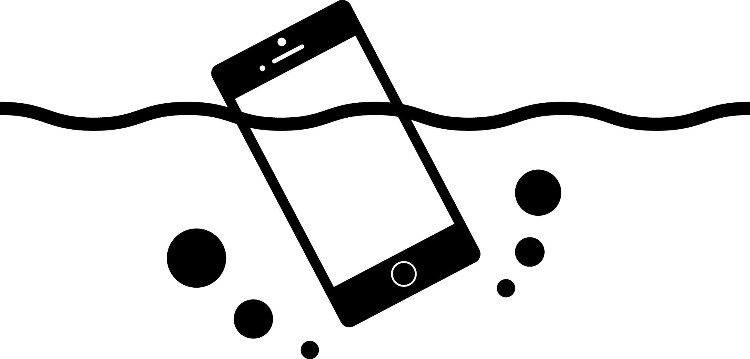 水没しているiPhoneのイラストイメージ